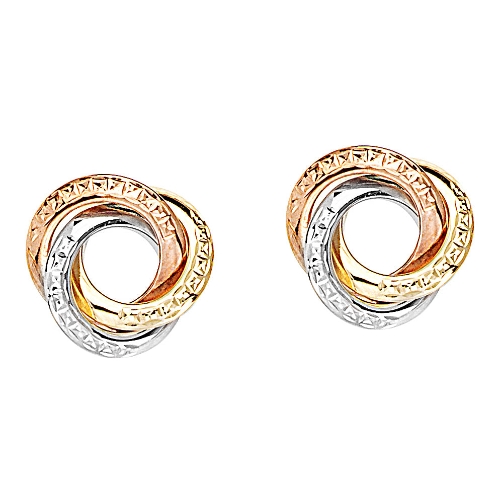 14K Yellow|Rose|White Gold Textured Love Knot Earring