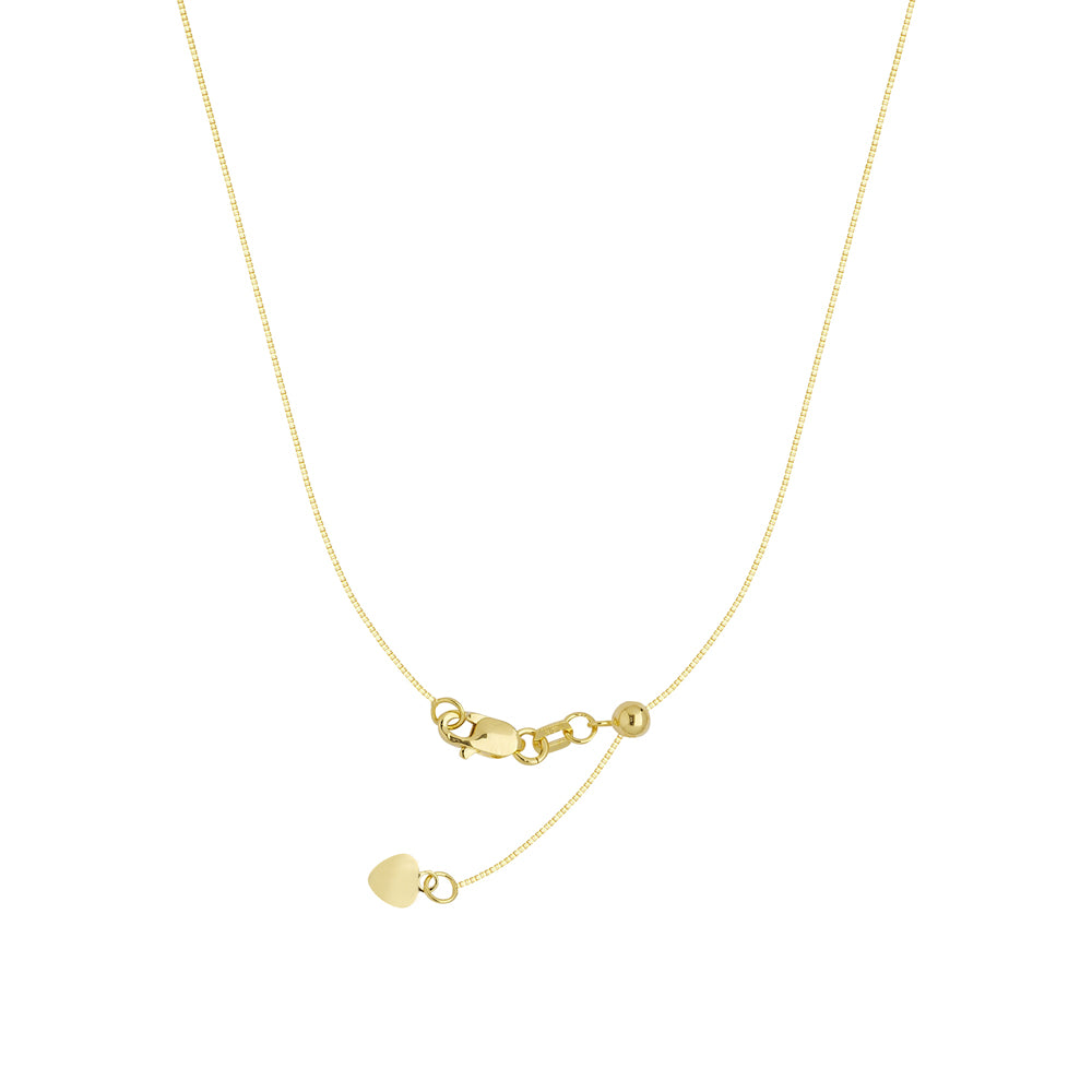 "22"" Adjustable Box Chain Necklace with Slider 10K Yellow Gold 0.8 mm 2.85 grams"