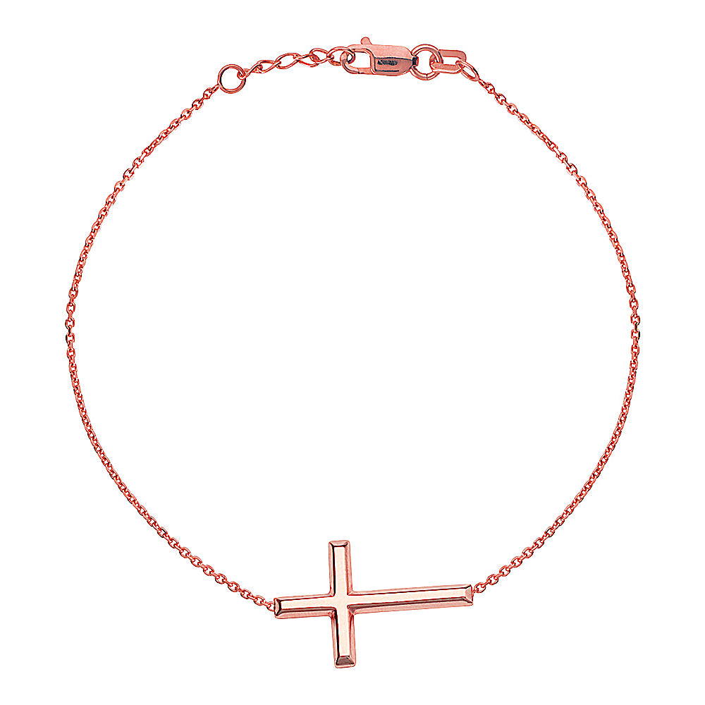 "14K Rose Gold Sideways Cross Bracelet. Adjustable Cable Chain 7"" to 7.50"""