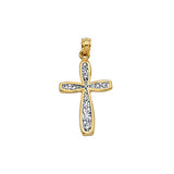 14K Two Tone Gold Filigree Style Cross Pendant