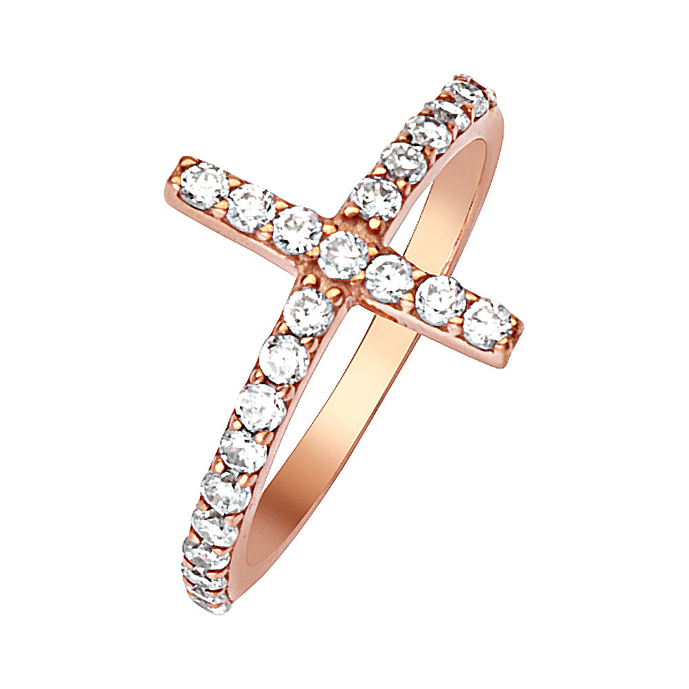 14K Rose Gold Sideways Cross Cubic Zirconia Ring