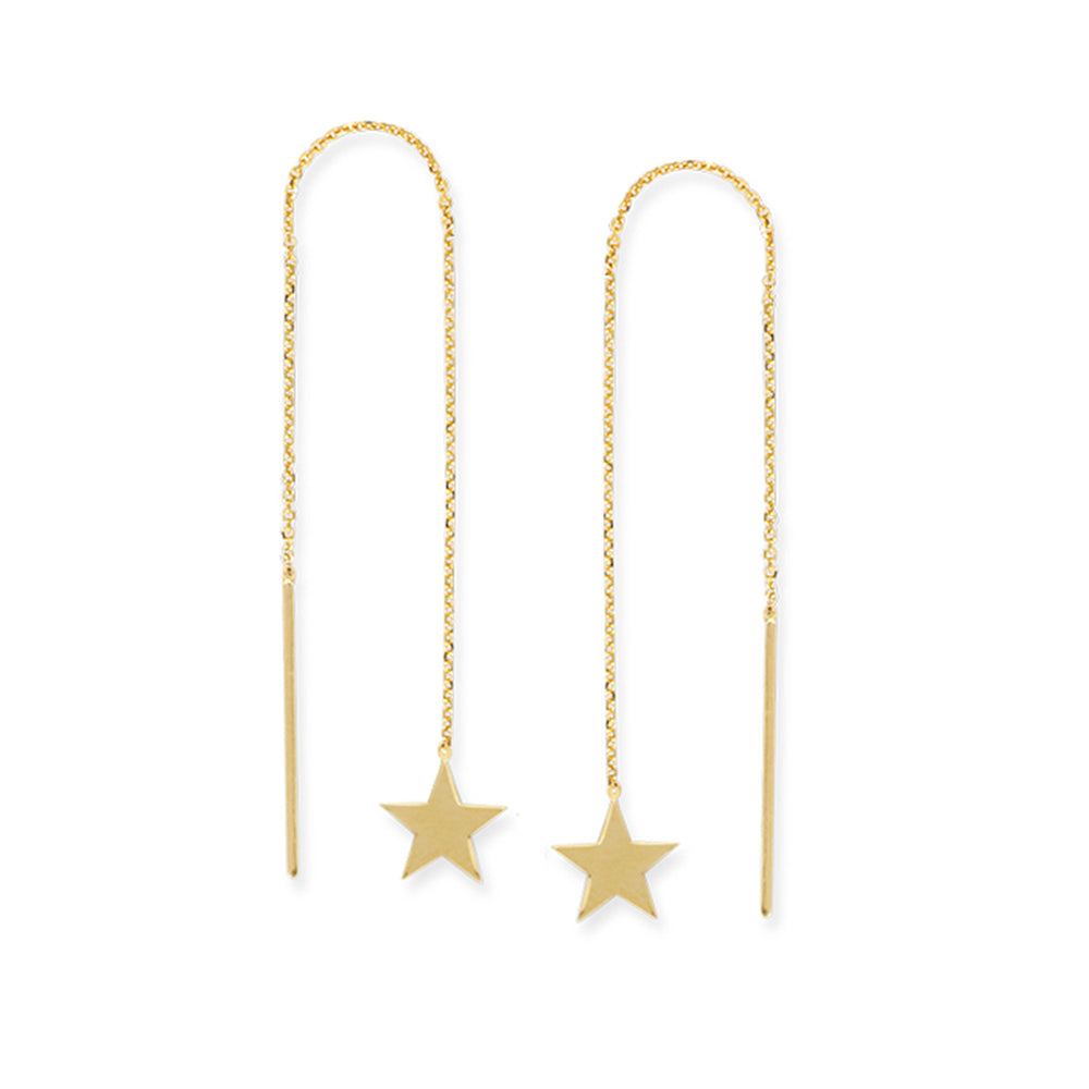 14K Yellow Gold Shiny Flat Star Shape Threader Earring