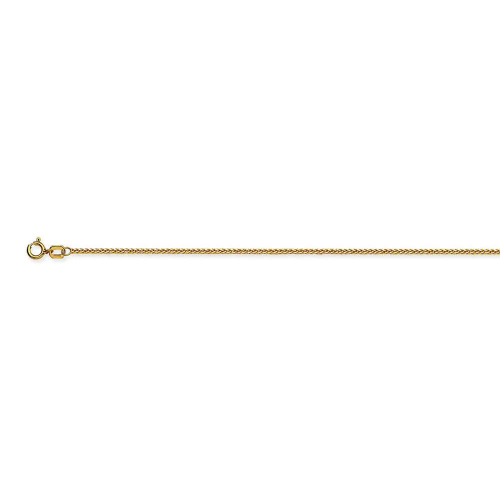 14K Yellow Gold 1 Light Square Wheat Chain in 16 inch, 18 inch, & 20 inch