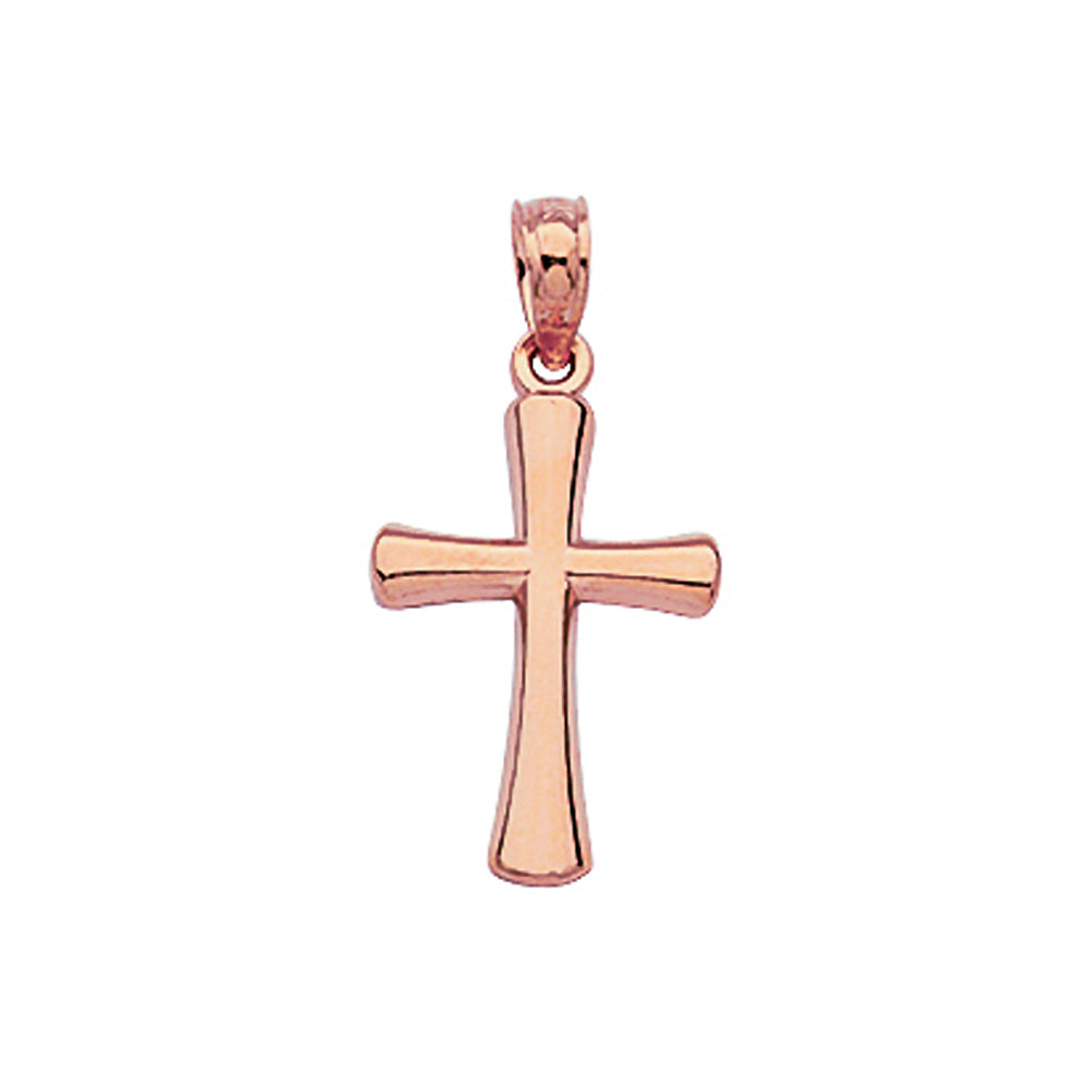 14K Rose Gold Beveled Style Small Cross Pendant