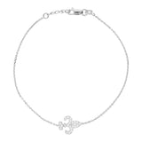 "14K White Gold Cubic Zirconia Fleur De Lis Bracelet. Adjustable Diamond Cut Cable Chain 7"" to 7.50"""