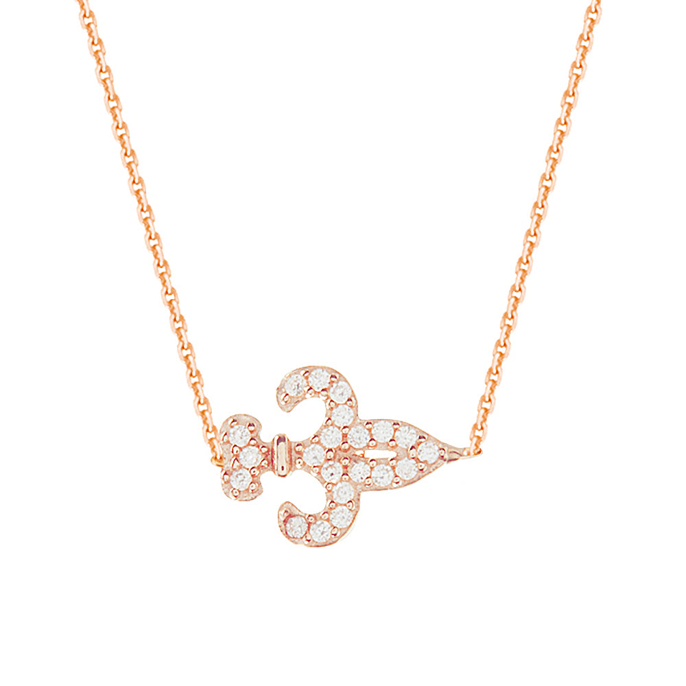 "14K Rose Gold Cubic Zirconia Fleur De Lis Necklace. Adjustable Diamond Cut Cable Chain 16"" to 18"""
