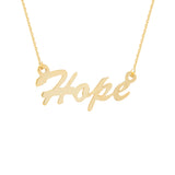 "14K Yellow Gold Hope Necklace. Adjustable Cable Chain 16"" to 18"""