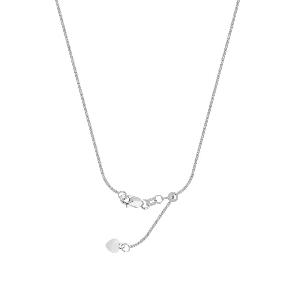 "22"" Adjustable Wheat Chain Necklace with Slider 925 White Sterling Silver 1.05 mm 2.25 grams"