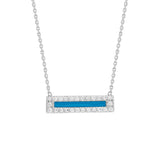 "14K White Gold Cubic Zirconia Blue Enamel Bar Necklace. Adjustable Diamond Cut Cable Chain 16"" to 18"""