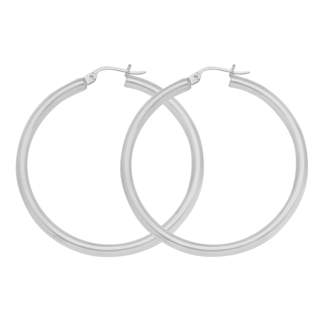 "10K White Gold 3 mm Polished Round Hoop Earrings 1"" Diameter"