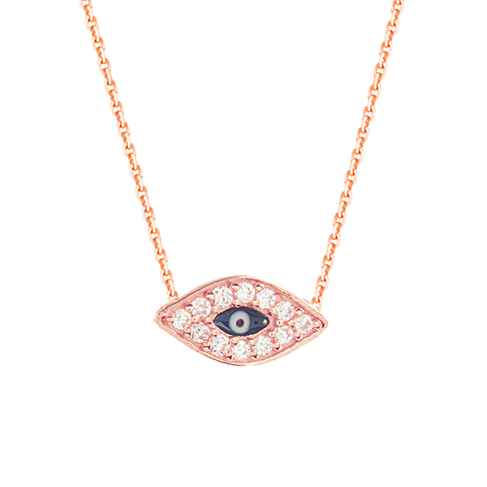 "14K Rose Gold Cubic Zirconia Evil Eye Necklace. Adjustable Diamond Cut Cable Chain 16"" to 18"""