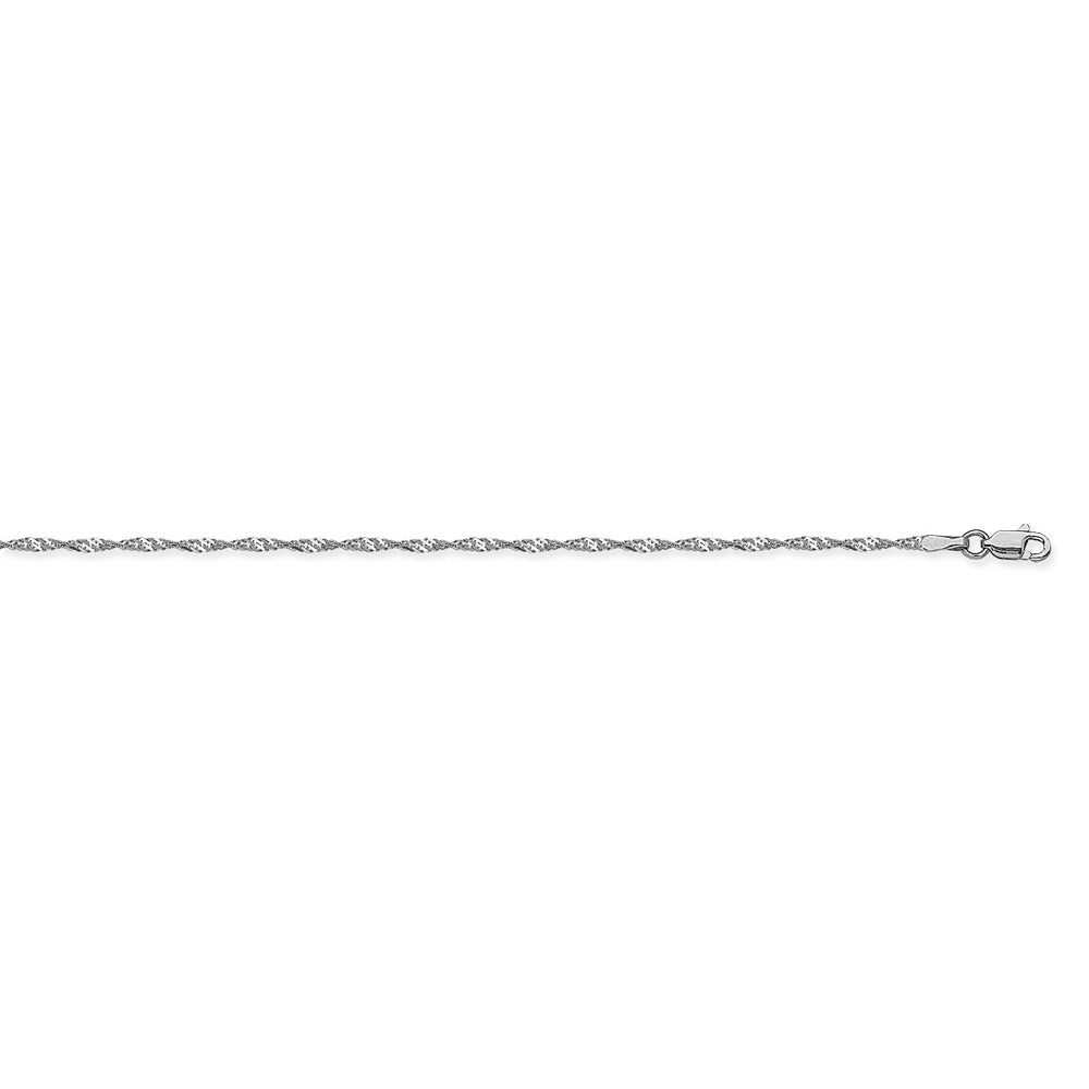 14K White Gold 1.4 Singapore Chain in 16 inch, 18 inch, 20 inch, & 24 inch