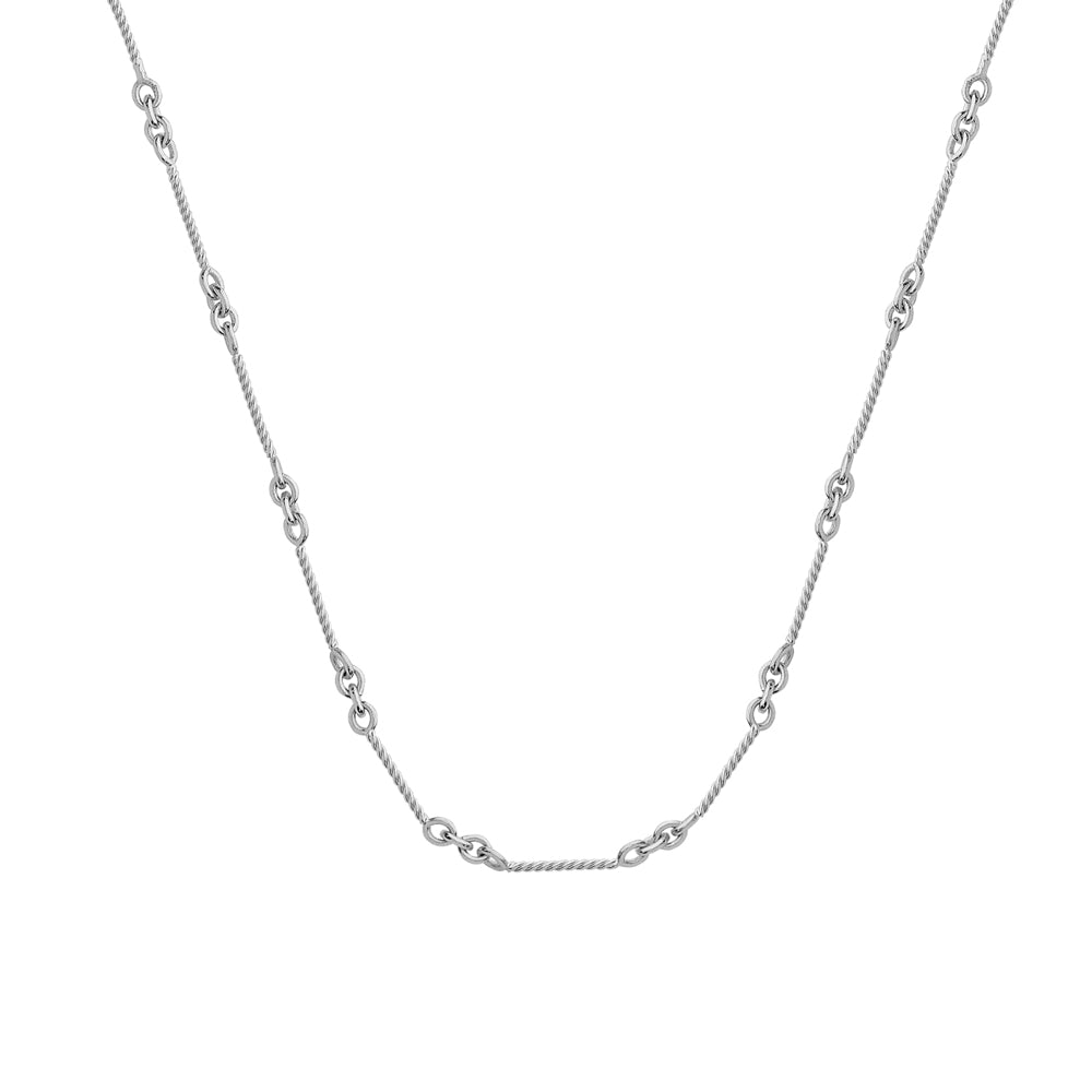 "14K White Gold Bar Cable Chain Anklet 10"" length"