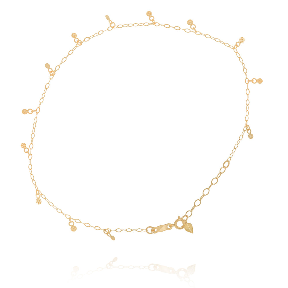 "14K Yellow Gold Dotted Diamond Cut Heart Anklet Adjustable 9"" to 10"" length"