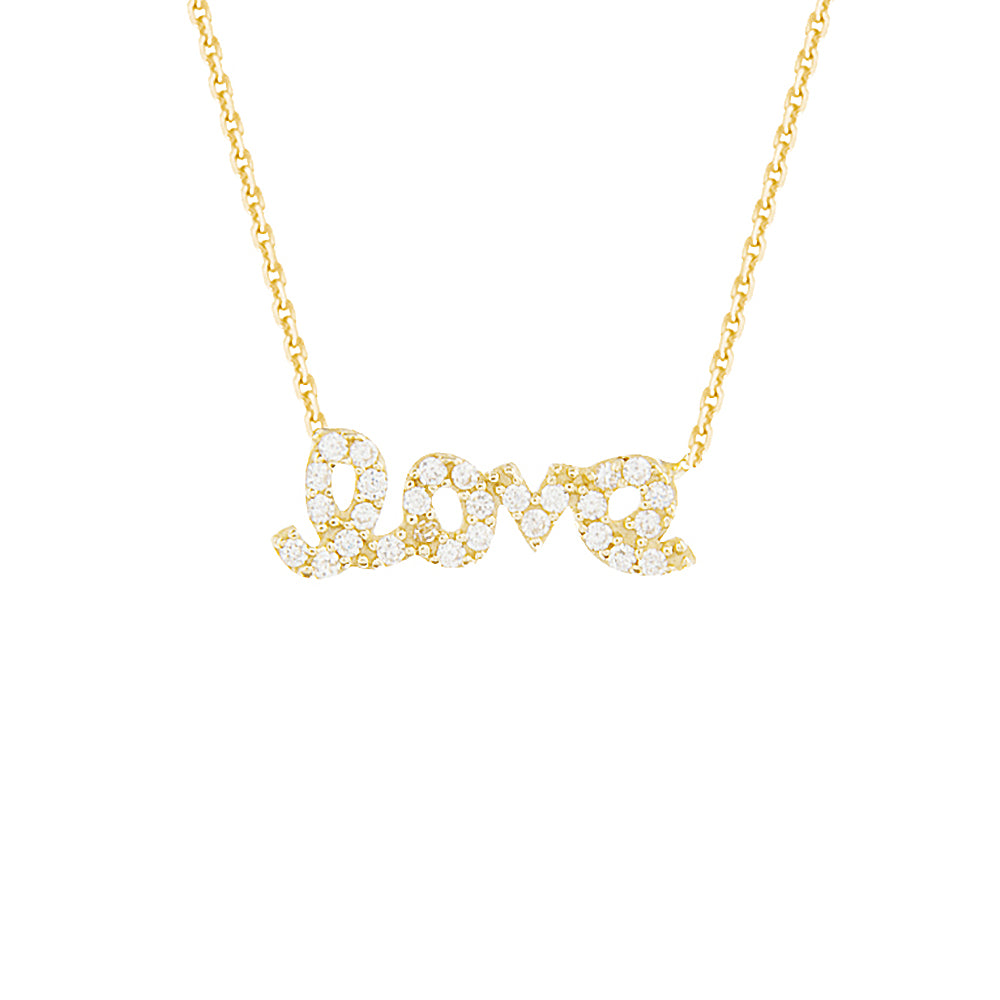 "14K Yellow Gold Cubic Zirconia Love Necklace. Adjustable Diamond Cut Cable Chain 16"" to 18"""