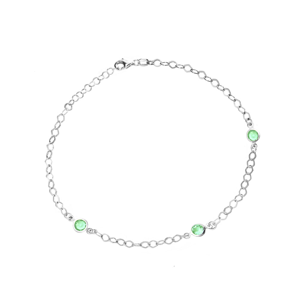 "Sterling Silver Green CZ Stations Anklet 9""-11"" length"