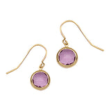 14K Yellow Gold Bezel Set Amethyst Earring