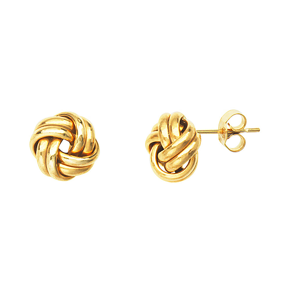 14K Yellow Gold Medium Double Tube Love Knot Earring