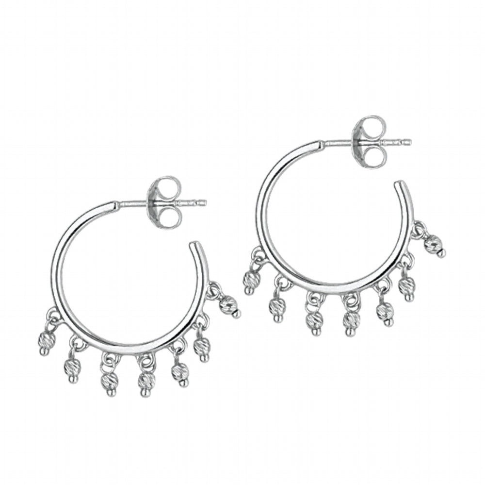 14K White Gold Mini Beads Shakers on Hoop Earrings