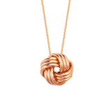 "14K Rose Gold Plain High Polish Tripple Tube Large Love Knot Necklace. Adjustable Cable Chain 16""-18"""