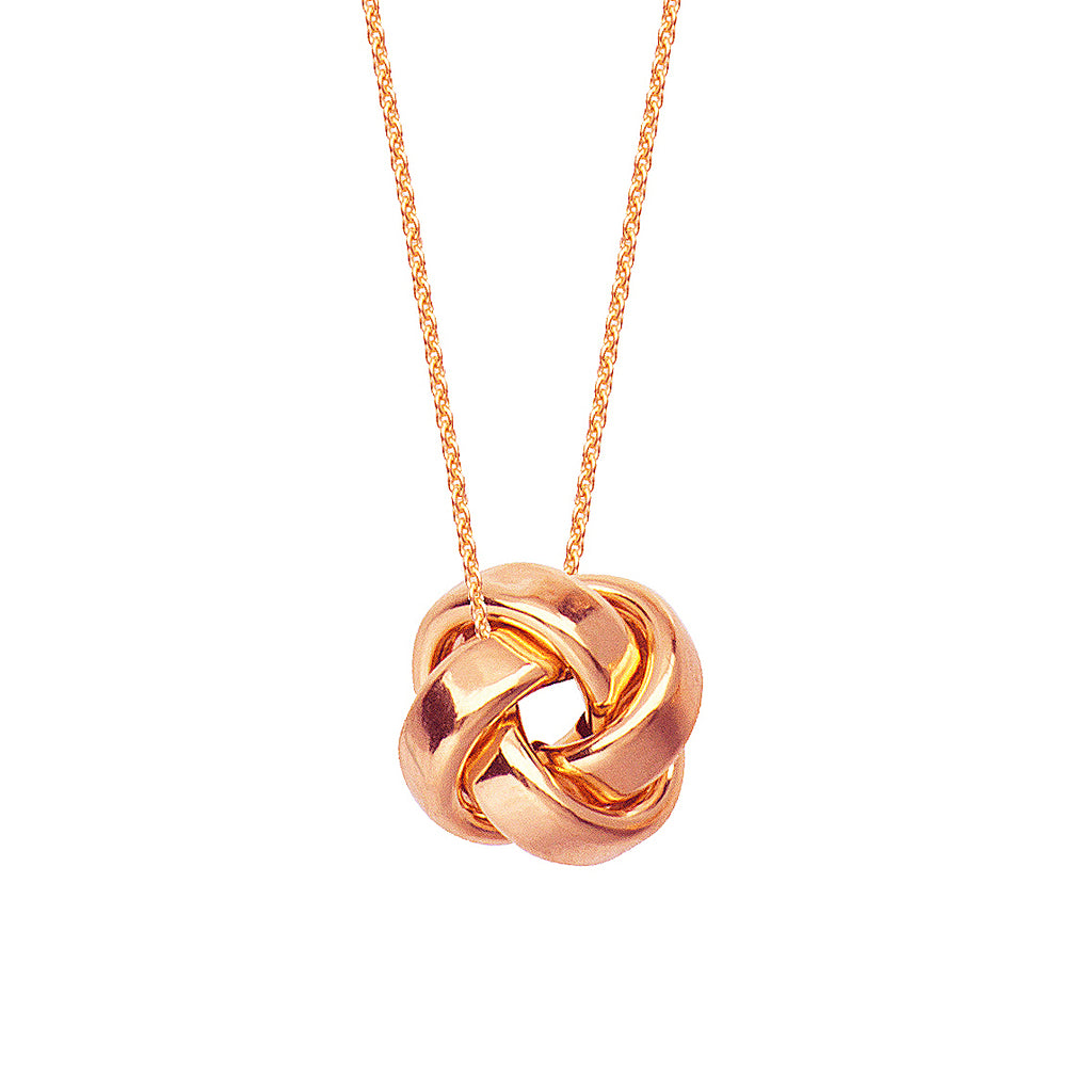 "14K Rose Gold High Polish Flat Square Tube Love Knot Necklace. Adjustable Cable Chain 16""-18"""