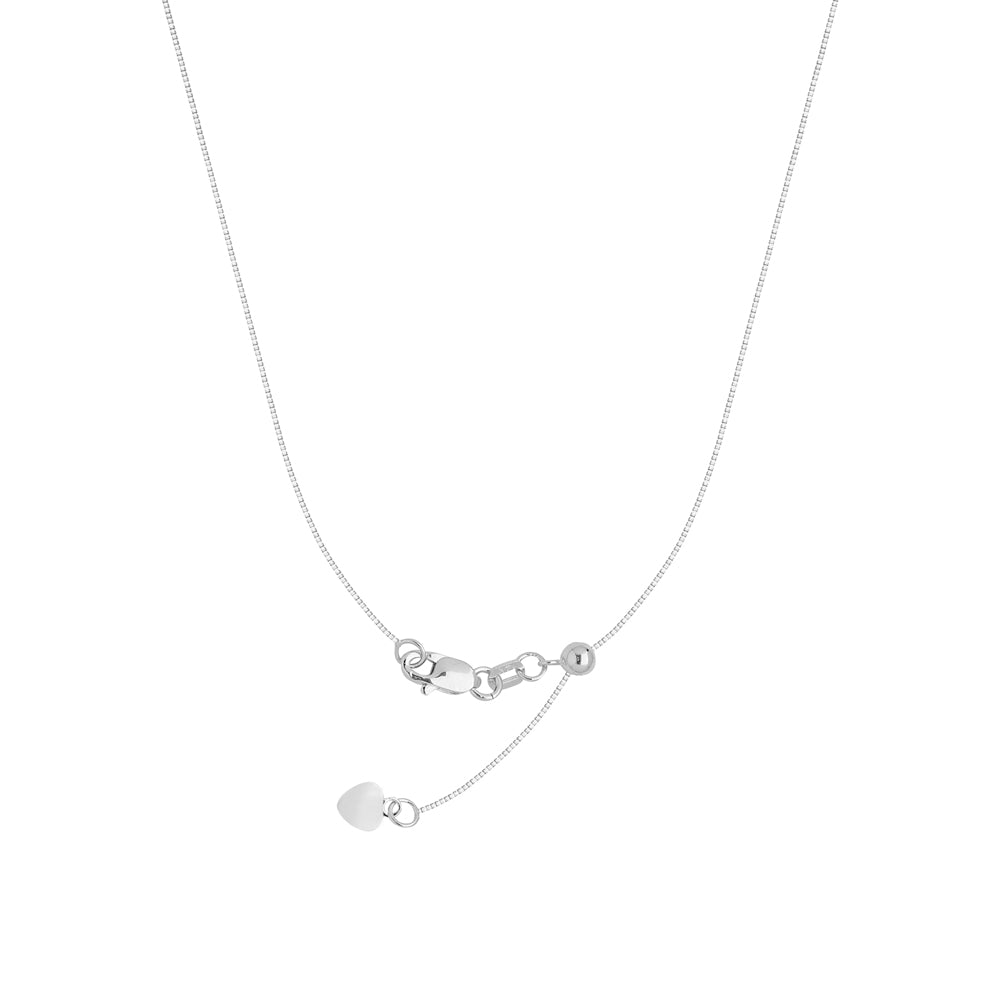 "22"" Adjustable Box Chain Necklace with Slider 14K White Gold 0.8 mm 3.3 grams"