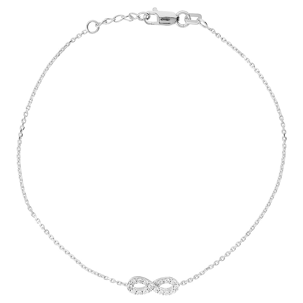 "14K White Gold Cubic Zirconia Infinity Bracelet. Adjustable Diamond Cut Cable Chain 7"" to 7.50"""