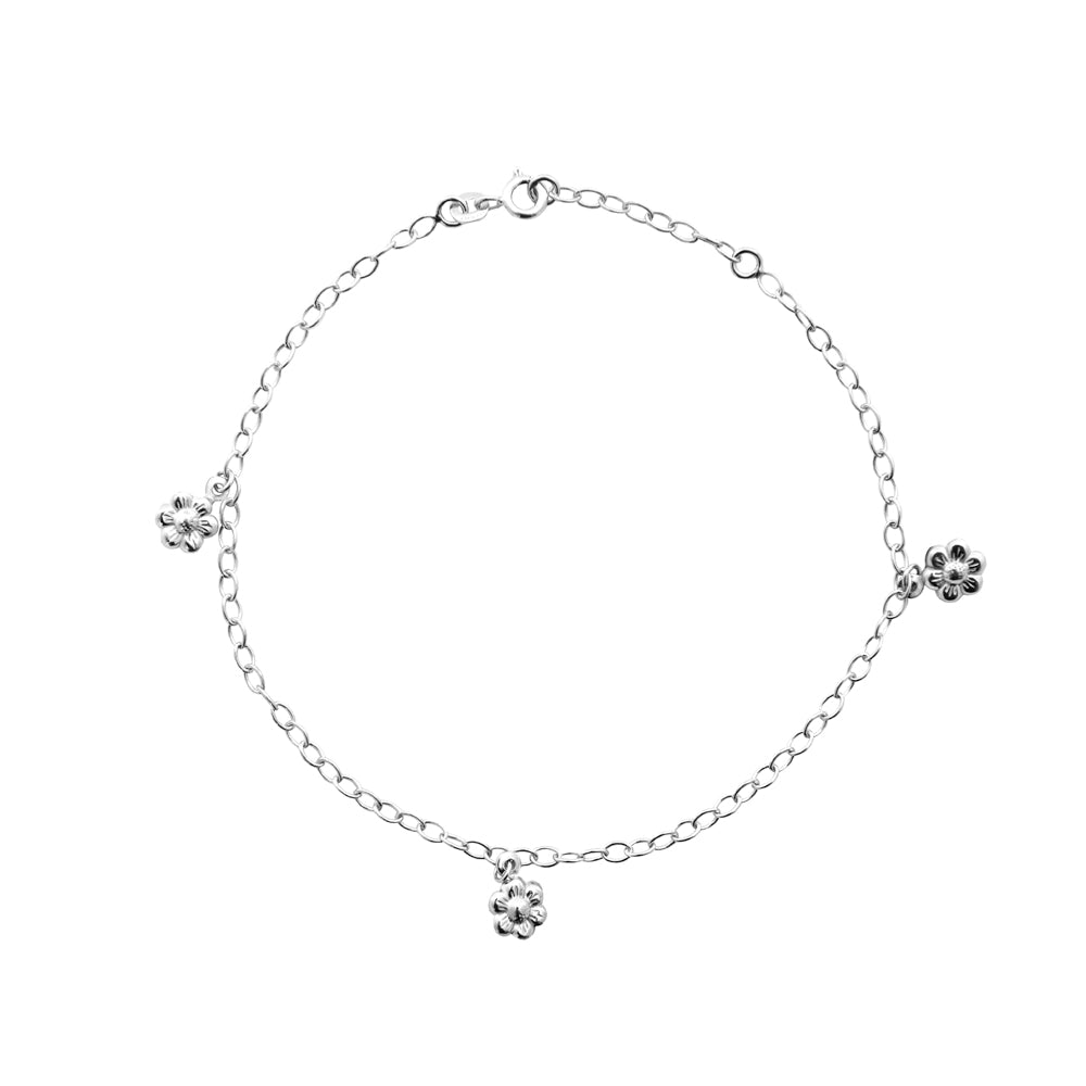 "Sterling Silver Flower Stations Anklet 10"" length"