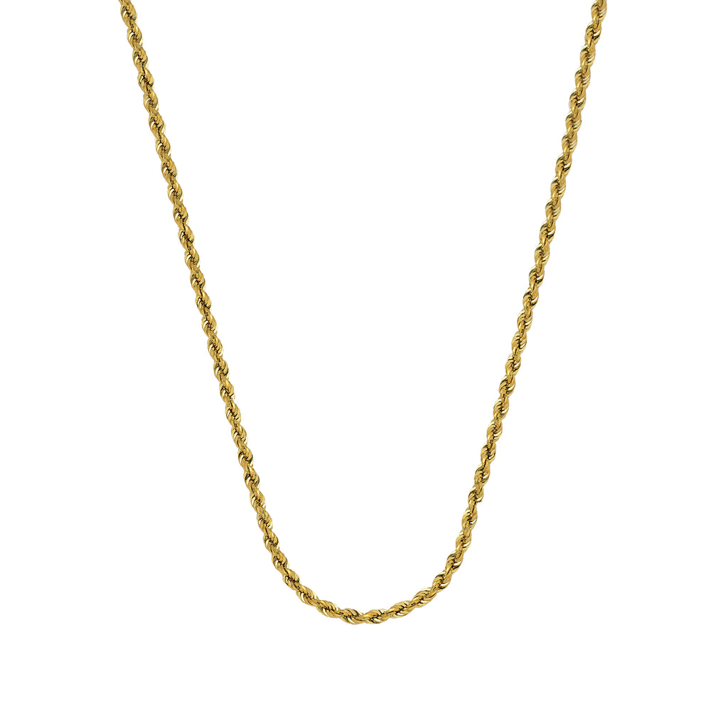 10K Yellow Gold 1.56 Diamond Cut Rope Chain in 16 inch, 18 inch, 20 inch, & 24 inch