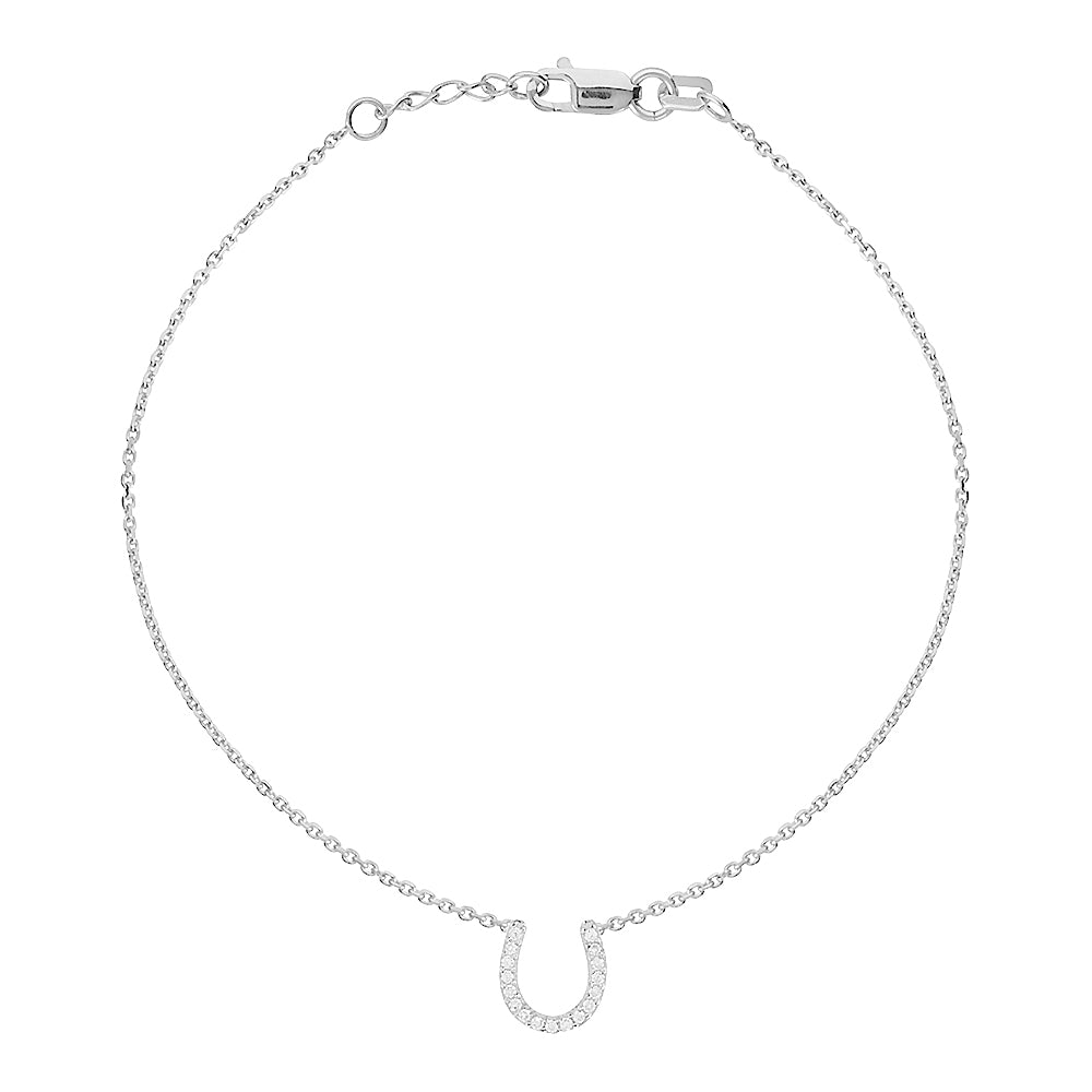 "14K White Gold Cubic Zirconia Lucky Horseshoe Bracelet. Adjustable Diamond Cut Cable Chain 7"" to 7.50"""