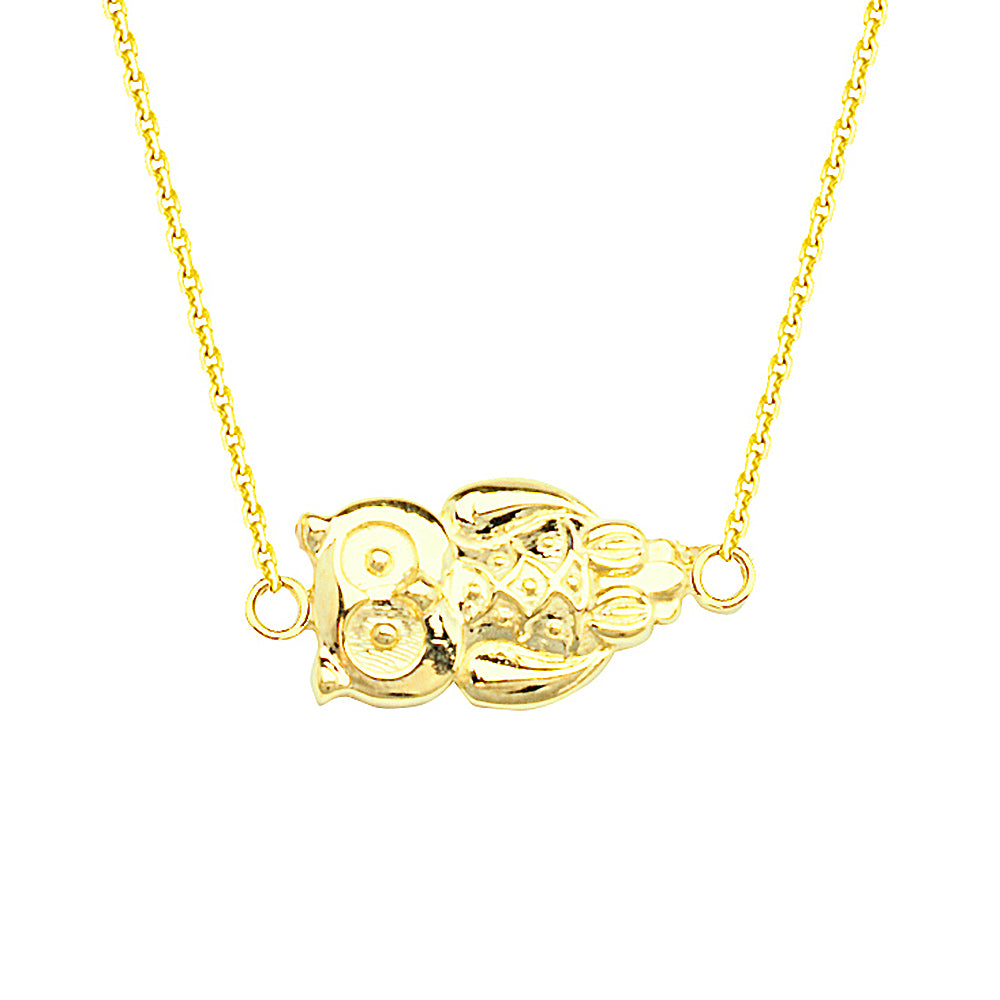 "14K Yellow Gold Sideways Owl Necklace. Adjustable Cable Chain 16"" to 18"""