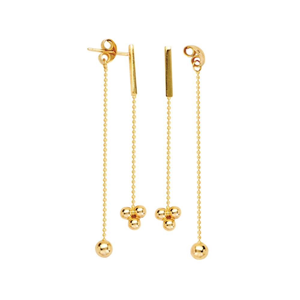 14K Yellow Gold Front to Back Cluster Round Beads and Bar Threader Earring