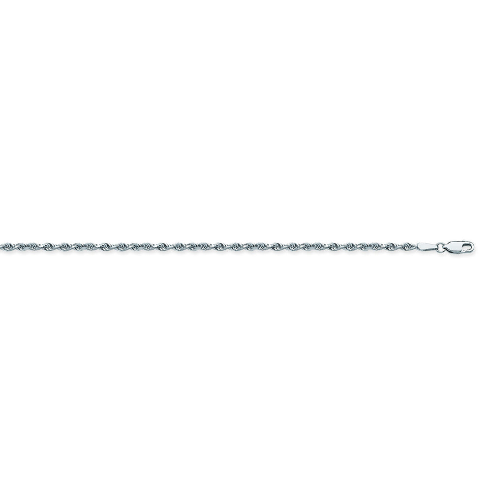 925 Sterling Silver 2.2 Diamond Cut Rope Chain in 18 inch, 20 inch, 22 inch, & 24 inch