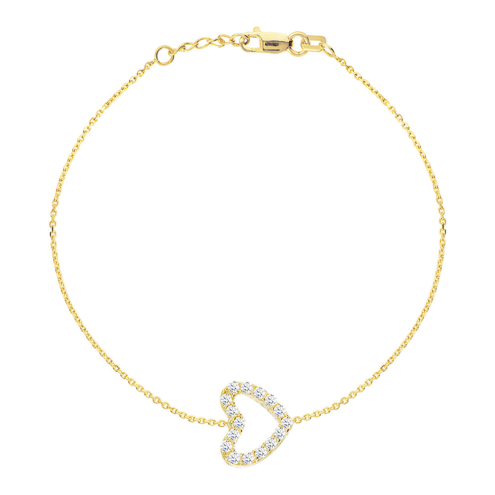 "14K Yellow Gold Cubic Zirconia Heart Bracelet. Adjustable Diamond Cut Cable Chain 7"" to 7.50"""