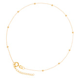 "14K Yellow Gold Diamond Cut Beads Anklet Adjustable 9"" to 10"" length"
