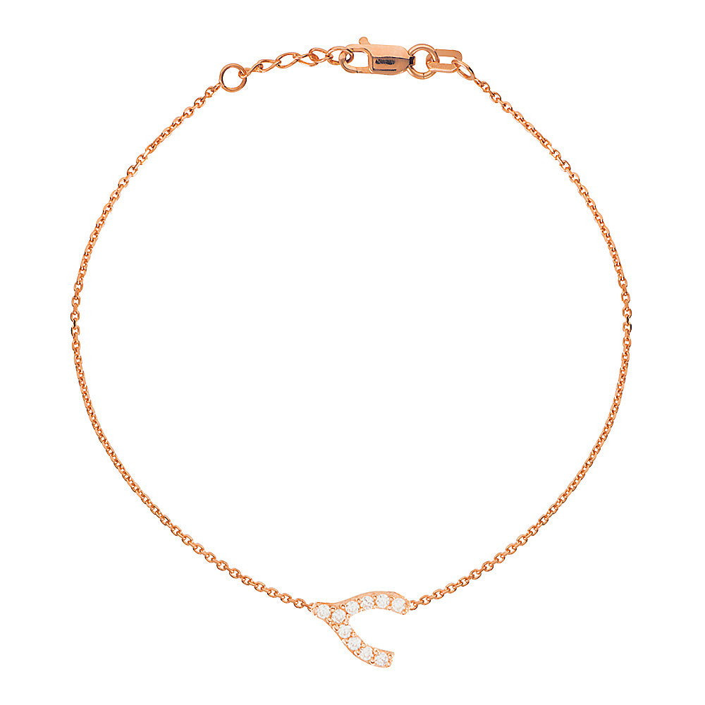 "14K Rose Gold Cubic Zirconia Sideways Wishbone Bracelet. Adjustable Diamond Cut Cable Chain 7"" to 7.50"""