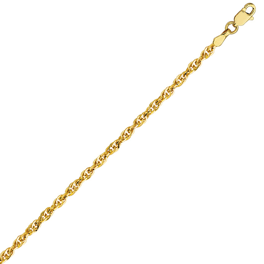 14K Yellow Gold 2.6 Designer Rope Chain in 16 inch, 18 inch, & 20 inch