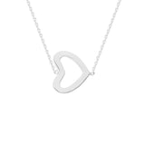"14K White Gold Sideways Heart Necklace. Adjustable Diamond Cut Cable Chain 16"" to 18"""