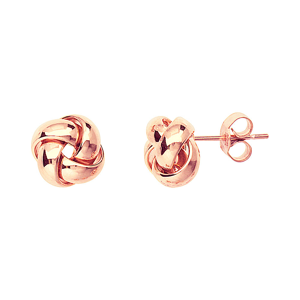 14K Rose Gold High Polished Puffed Love Knot Earring