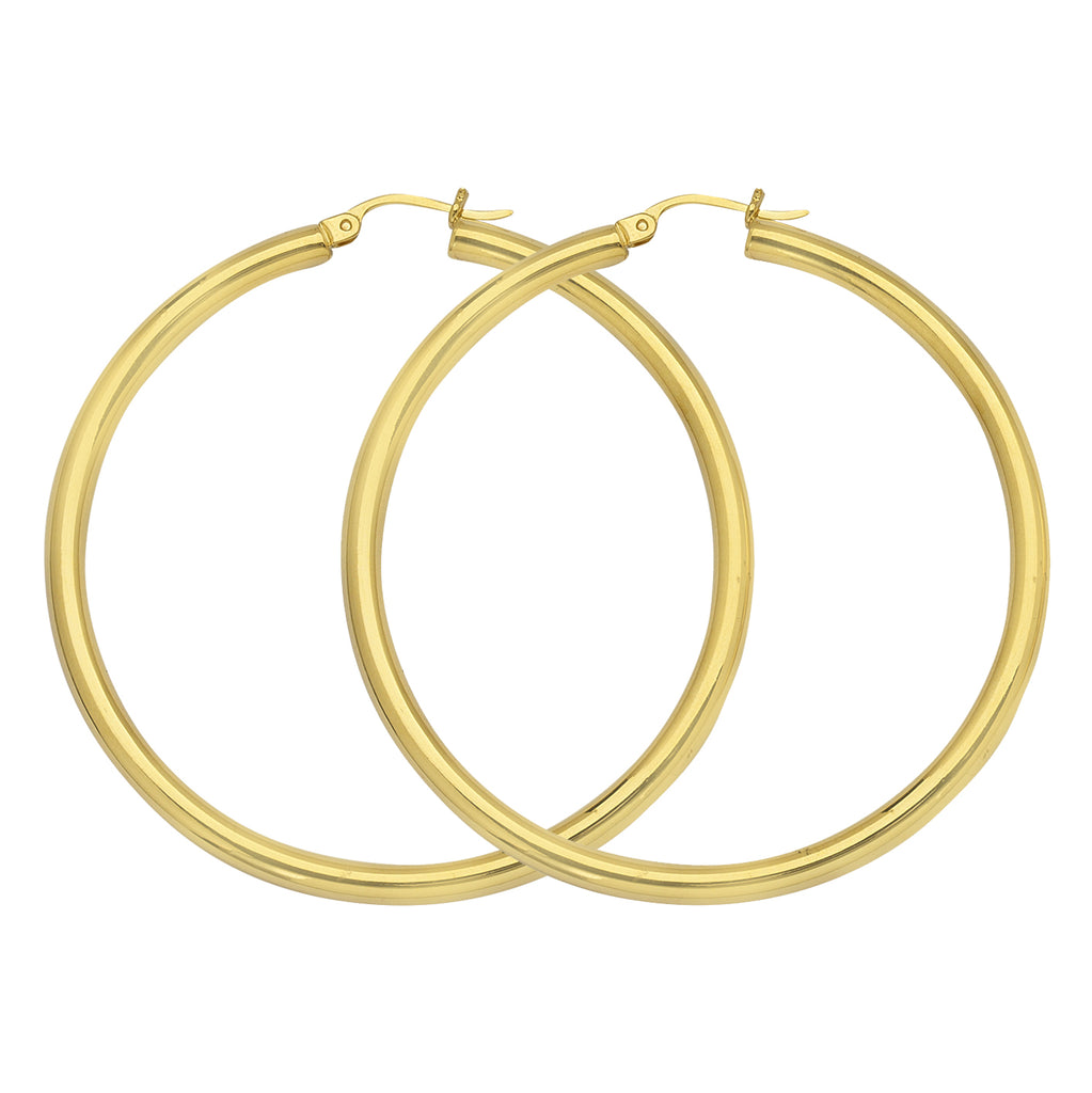 "14K Yellow Gold 3 mm Polished Round Hoop Earrings 1.6"" Diameter"