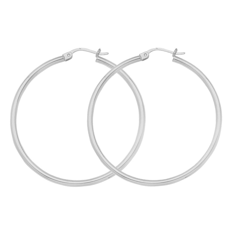 "14K White Gold 2 mm Light Weight Hoop Earrings 1"" Diameter"