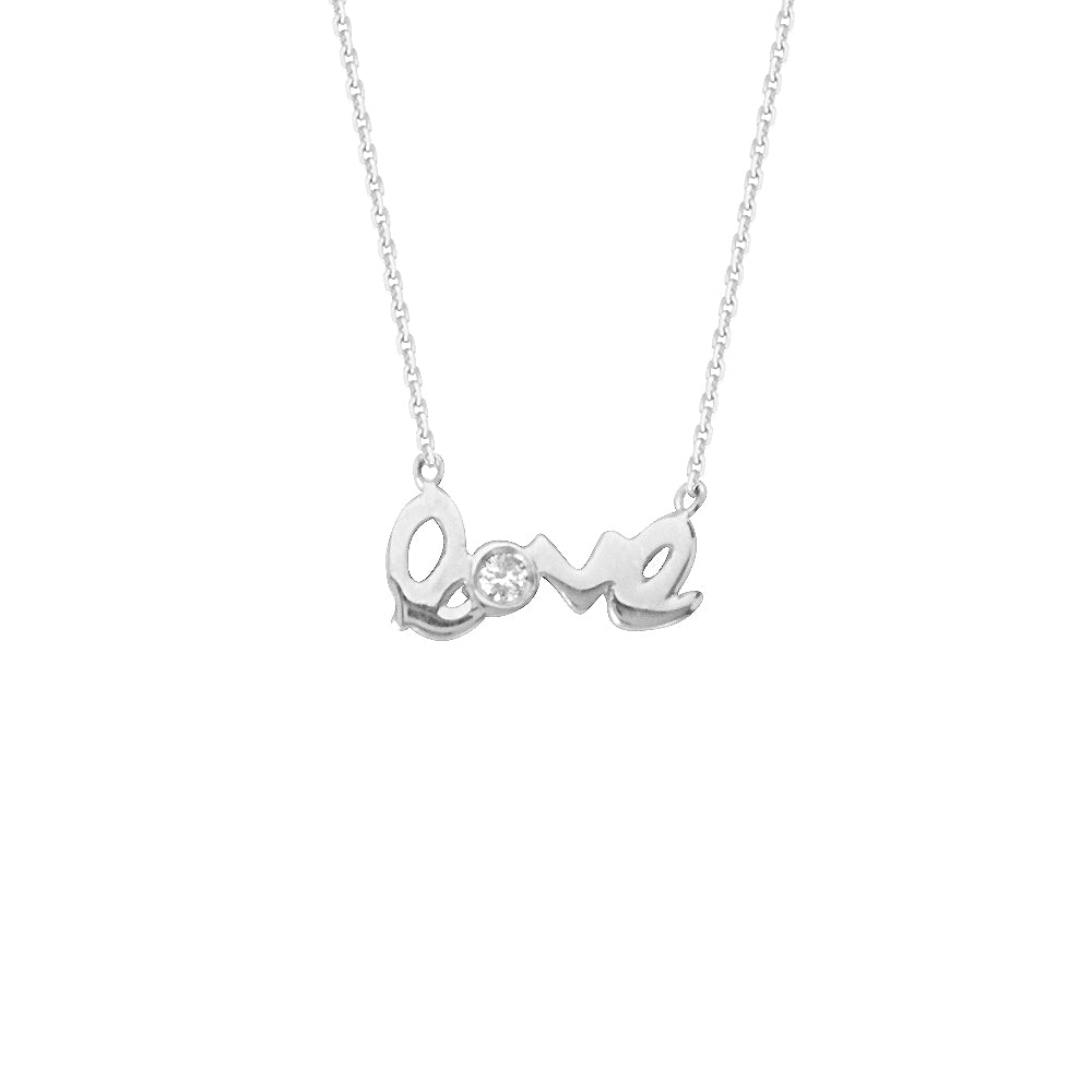 "14K White Gold Diamond Love Necklace. Adjustable Cable Chain 16"" to 18"""