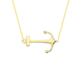 "14K Yellow Gold Sideways Anchor Necklace. Adjustable Cable Chain 16"" to 18"""