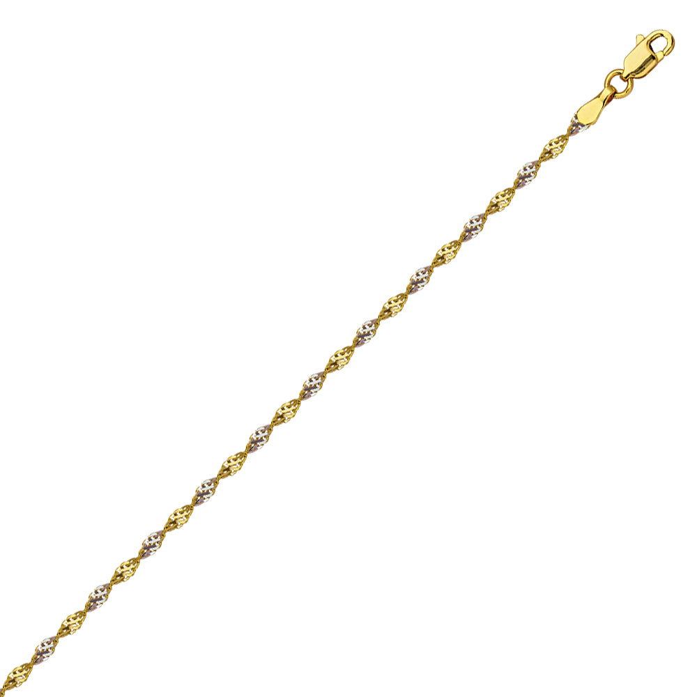 14K Two Tone Gold 1.35 Dorica Chain in 16 inch, 18 inch, 20 inch, & 24 inch