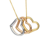 "14K Yellow|Rose|White Gold Trio Open Heart Necklace. Adjustable Cable Chain 16""-18"""