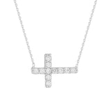 "14K White Gold Cubic Zirconia Sideways Cross Necklace. Adjustable Diamond Cut Cable Chain 16"" to 18"""