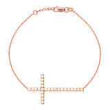 14K Rose Gold Sideways Cross Cubic Zirconia Bracelet. Adjustable Cable Chain 7