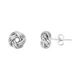 14K White Gold Puffed Double Tubes Small Love Knot Earring
