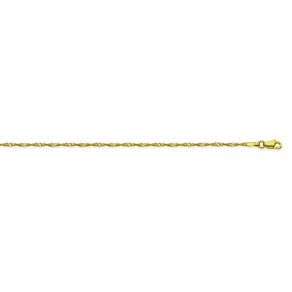 14K Yellow Gold 1.4 Singapore Chain in 16 inch, 18 inch, 20 inch, & 24 inch