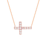 "14K Rose Gold Cubic Zirconia Sideways Cross Necklace. Adjustable Diamond Cut Cable Chain 16"" to 18"""